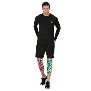 Tikiboo Neon Leopard 3/4 Length Printed Leggings - Front Male Model View