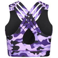 Tikiboo Blackberry Camo Cross Back Fitness Bra - Back Product View