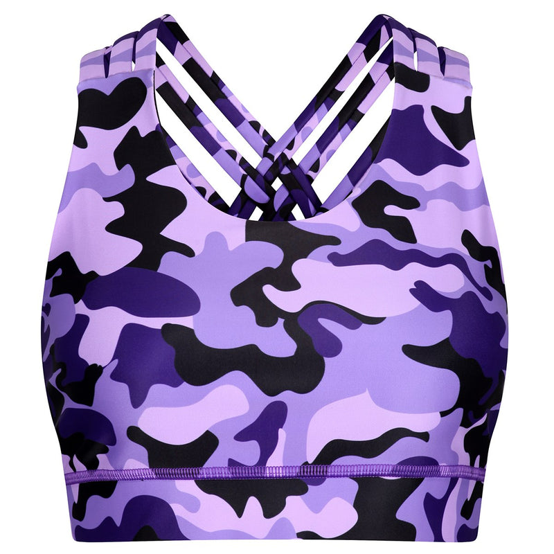 Tikiboo Blackberry Camo Cross Back Bra - Front Product View