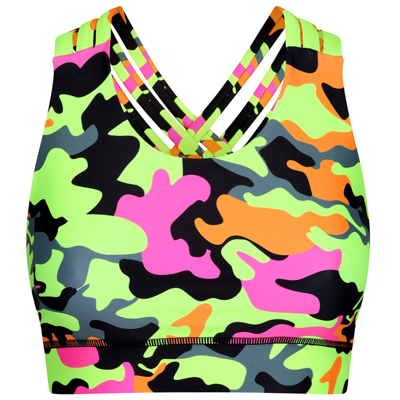 Tikiboo Fruit Salad Camo Cross Back Bra - Front Product View
