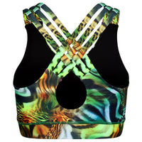 Tikiboo Jungle Patchwork Cross Back Fitness Bra - Back Product View