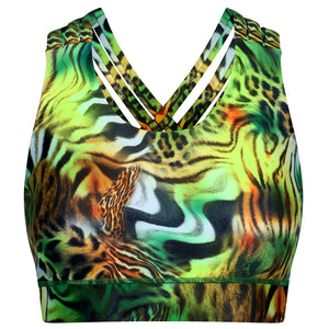 Tikiboo Jungle Patchwork Cross Back Bra - Front Product View