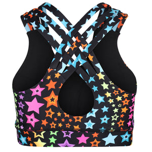 Tikiboo Neon Stars Cross Back Fitness Bra - Back Product View
