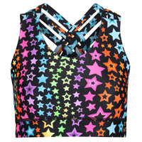 Tikiboo Neon Stars Cross Back Bra - Front Product View