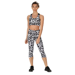 Tikiboo Snow Leopard Cross Back Crop Top - Front Model View