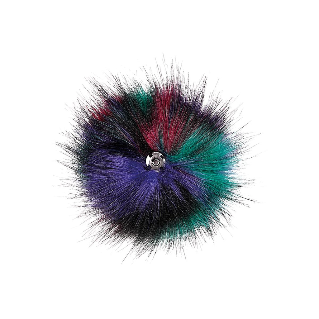 Space Balls Faux Fur Pom Pom Key Chain Dangle - Back Product View