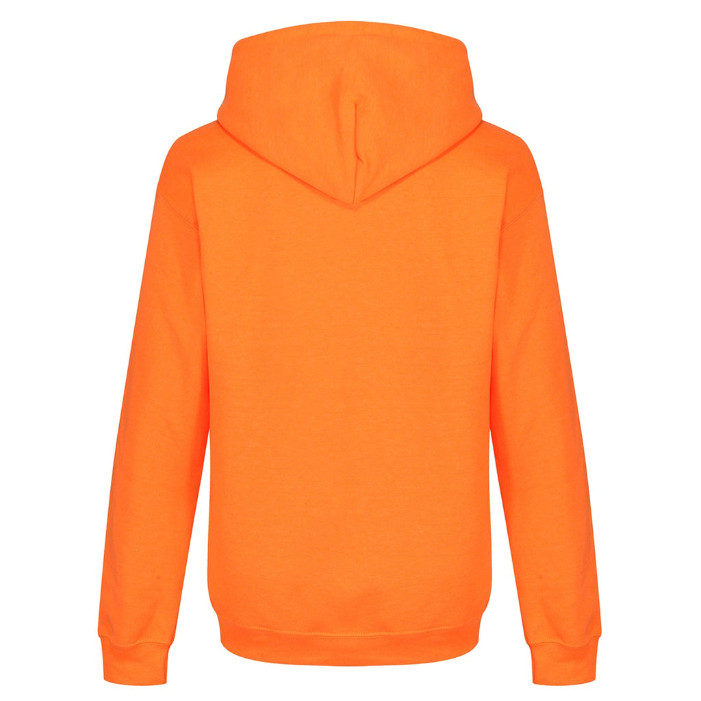 Tikiboo Mr Motivator 'Squad' Neon Orange Hooded Sweatshirt - Back Product View