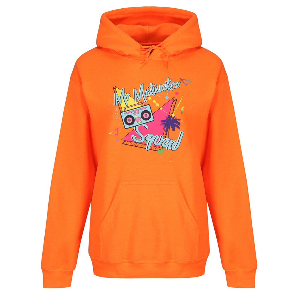 Tikiboo Mr Motivator 'Squad' Neon Orange Hoodie - Front Product View