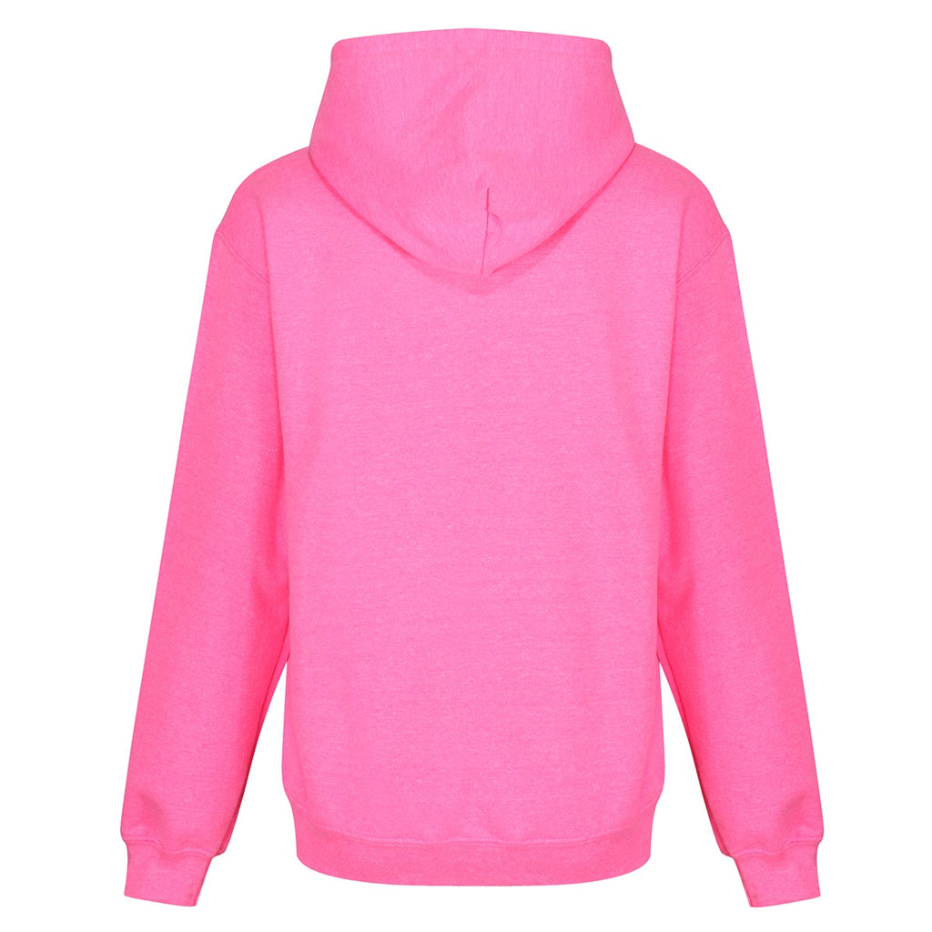 Tikiboo Mr Motivator 'Squad' Neon Pink Hooded Sweatshirt - Back Product View
