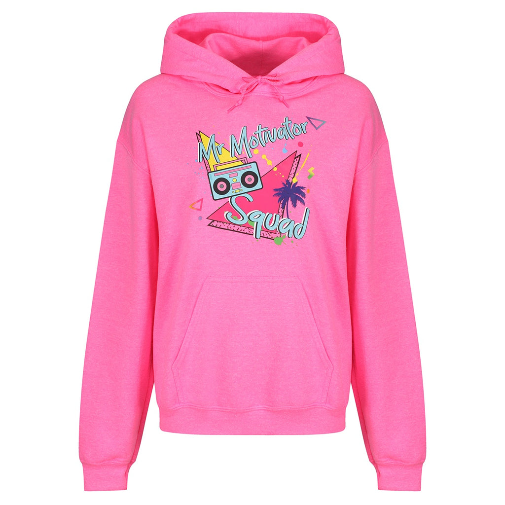 Tikiboo Mr Motivator 'Squad' Neon Pink Hoodie - Front Product View