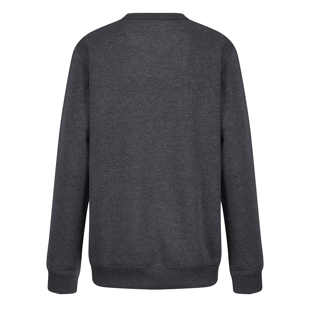 Tikiboo Charcoal Marl Athletics Sweatshirt Top - Back Product View