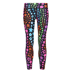Tikiboo Neon Stars Kids Leggings - Front Product View