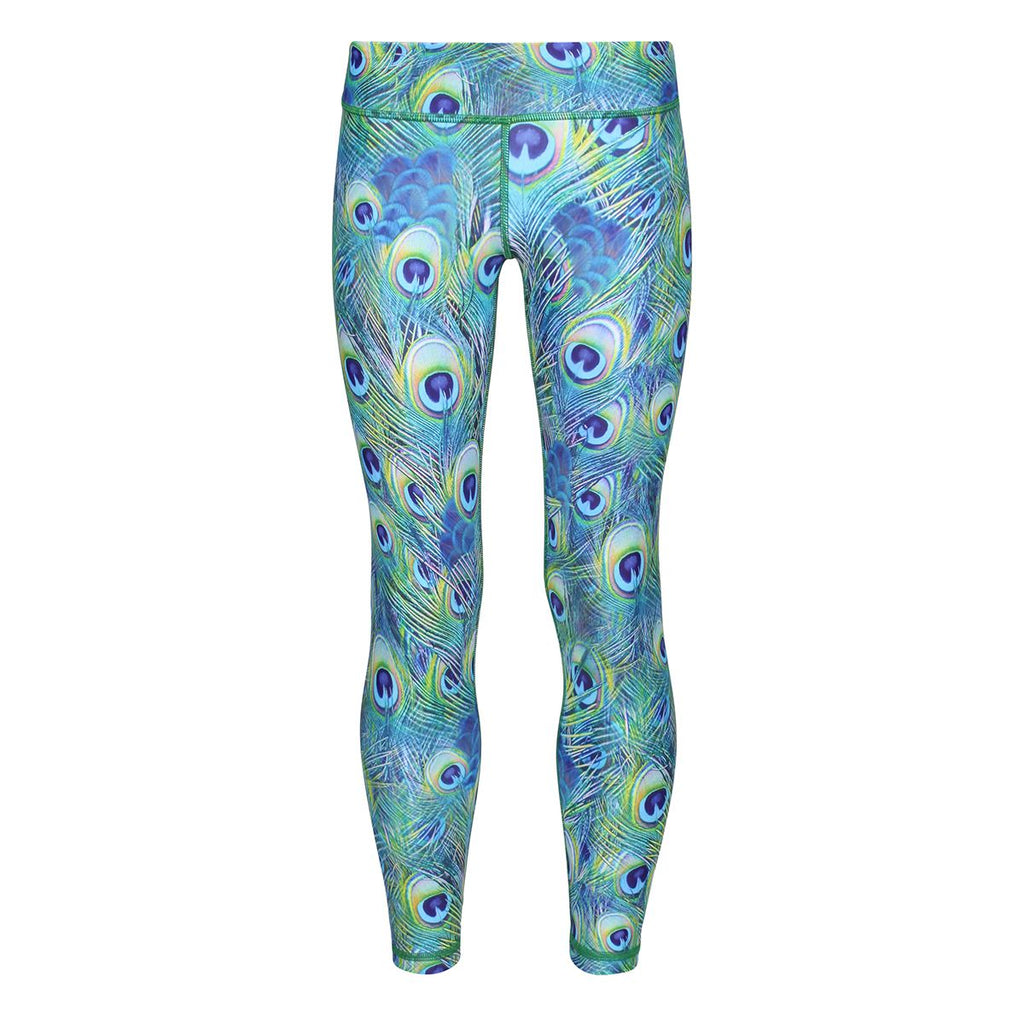 Tikiboo Peacock Feathers Kids Leggings - Front Product View