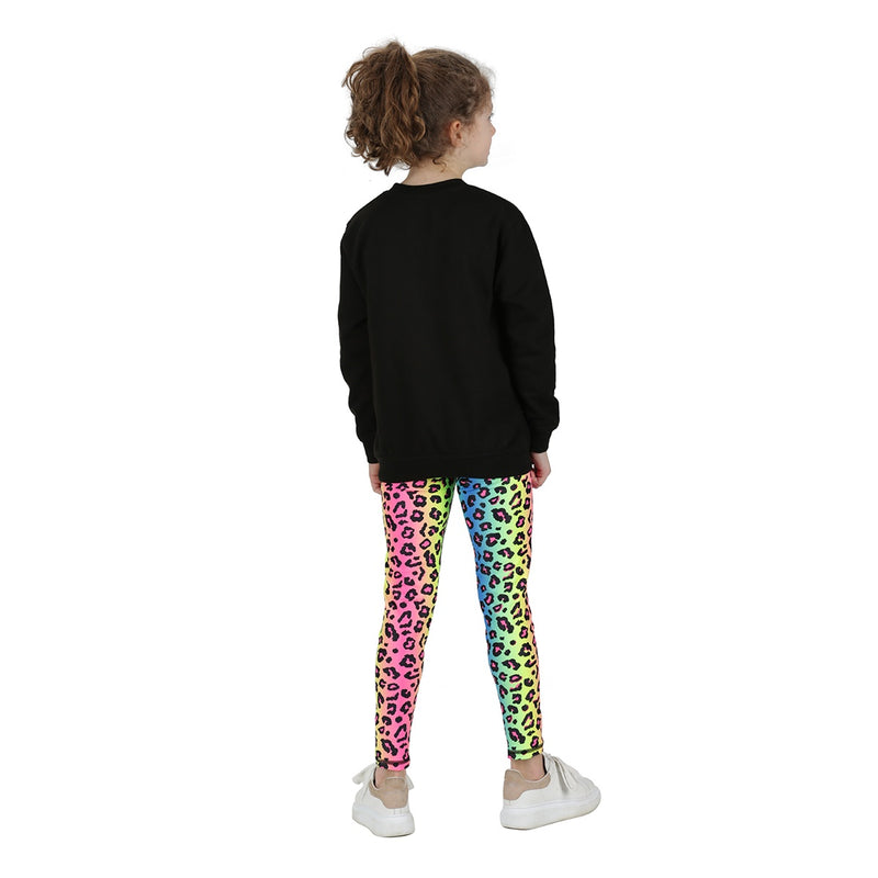 Tikiboo Neon Leopard Child Tights - Front Back View