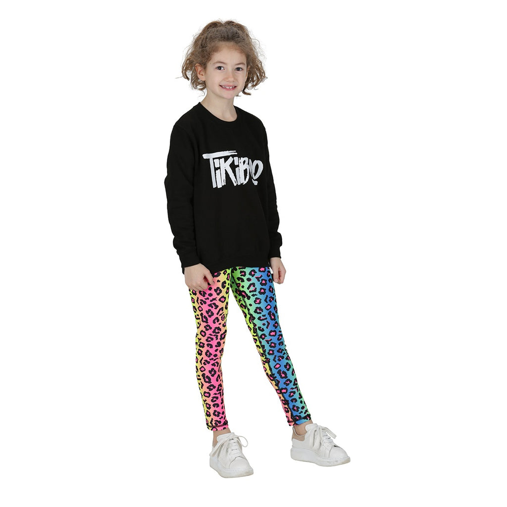 Tikiboo Neon Leopard Child Leggings - Front Model View