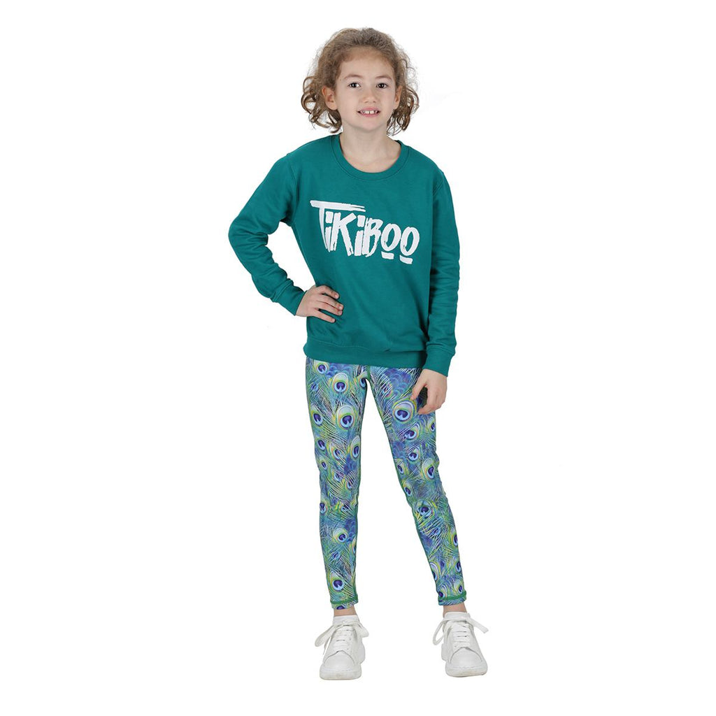 Tikiboo Peacock Feathers Kids Tights - Front Model View