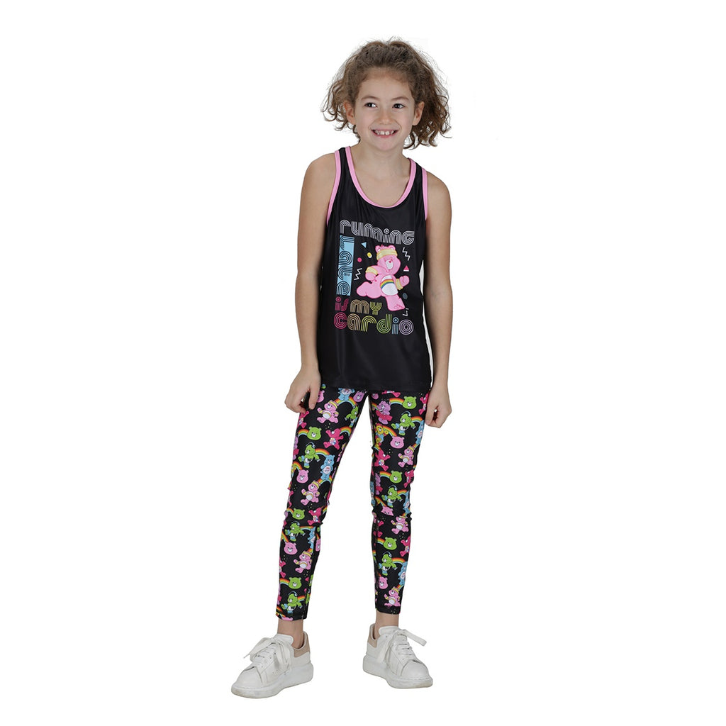 Tikiboo Care Bears 'Running Late Is My Cardio' Kids Tank - Front Model View