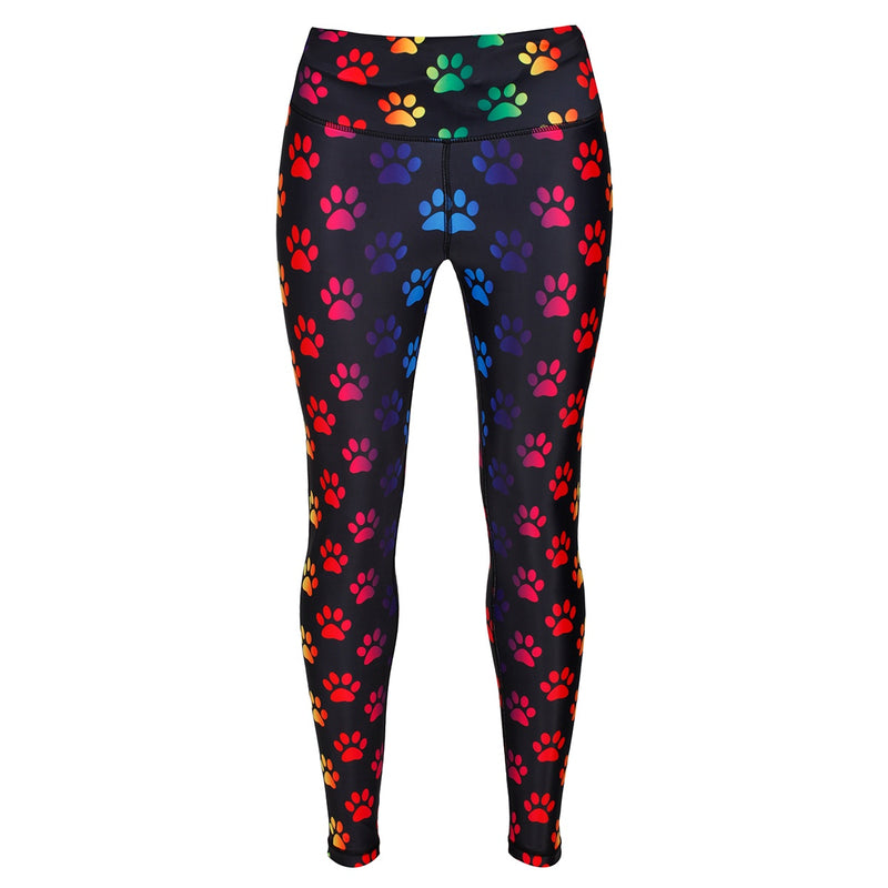 Tikiboo Rainbow Paw Print Leggings - Front Product View