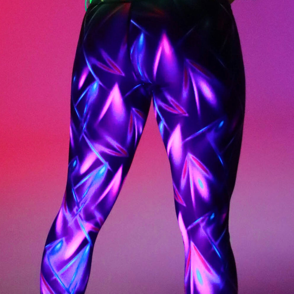 Tikiboo Clubbercise Laser Light Tight Pants - Back Model Glow View