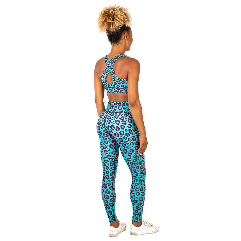 Tikiboo Minty Leopard Tight Pants - Back Model View