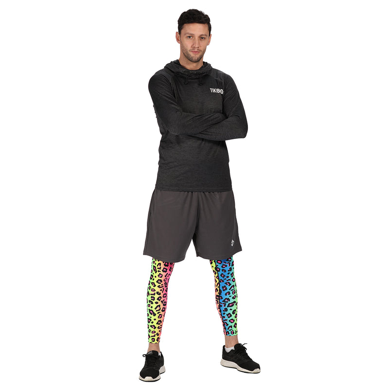 Tikiboo Neon Leopard Tights - Front Male Model View