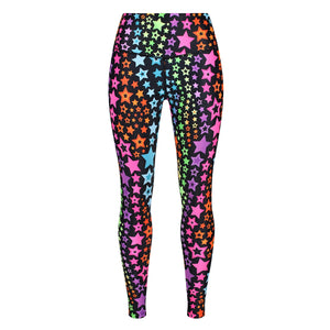 Tikiboo Neon Stars Leggings - Front Product View