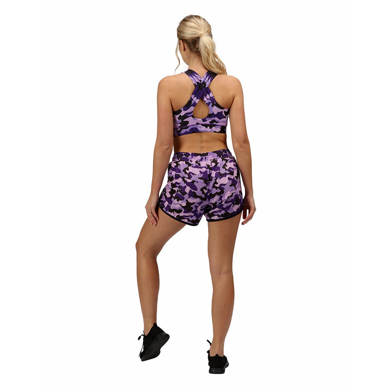 Tikiboo Blackberry Camo Loose Fit Exercise Shorts - Back Model View