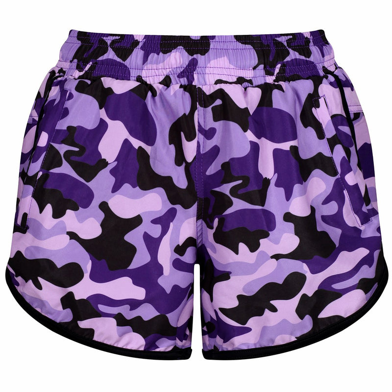 Tikiboo Blackberry Camo Loose Fit Workout Shorts - Front Product View