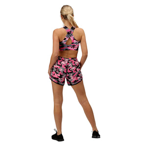 Tikiboo Strawberry Sundae Camo Loose Fit Exercise Shorts - Back Model View
