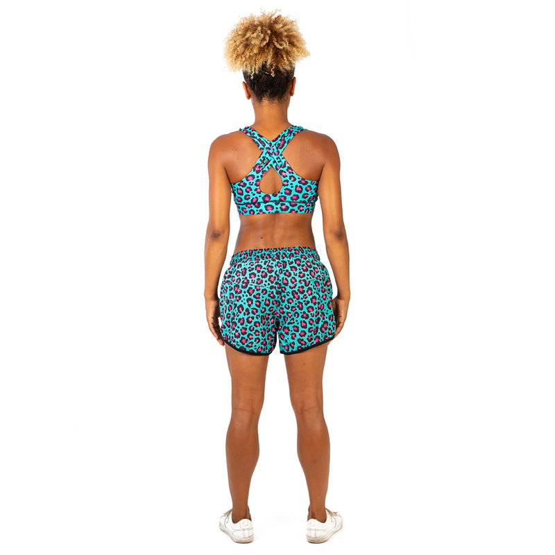 Tikiboo Minty Leopard Loose Fit Exercise Shorts - Back Model View