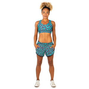 Tikiboo Minty Leopard Loose Fit Workout Pants - Front Model View