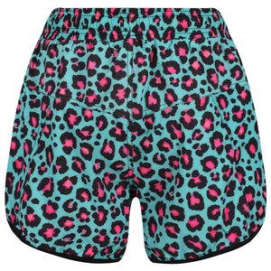 Tikiboo Minty Leopard Loose Fit Exercise Pants - Back Product View