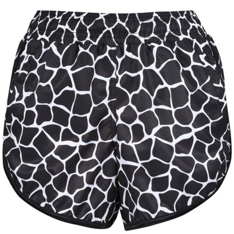 Tikiboo Monochrome Giraffe Loose Fit Workout Shorts - Front Product View