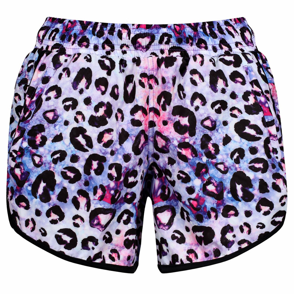 Tikiboo Bluebell Ocelot Loose Fit Workout Shorts - Front Product View