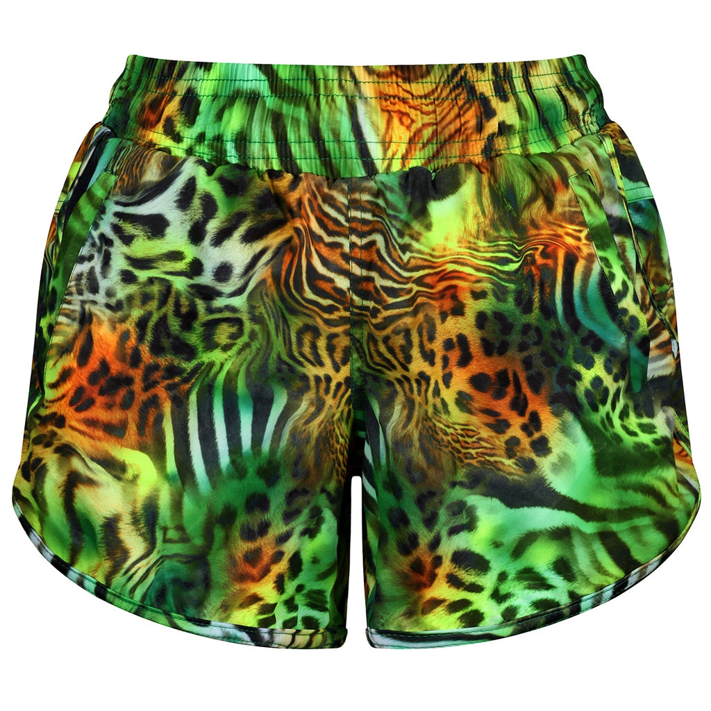 Tikiboo Jungle Patchwork Loose Fit Workout Shorts - Front Product View