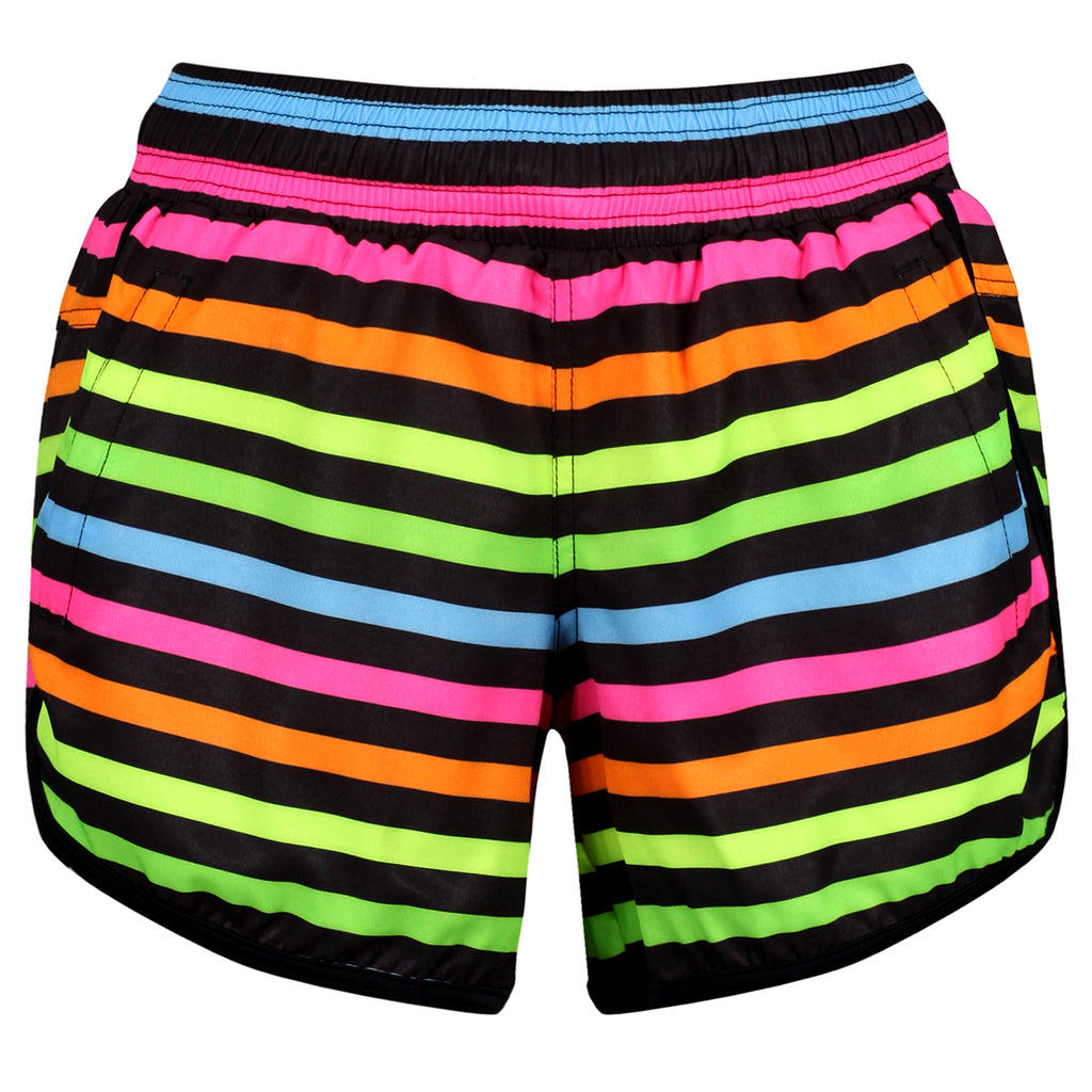 Neon Stripes Loose Fit Workout Shorts