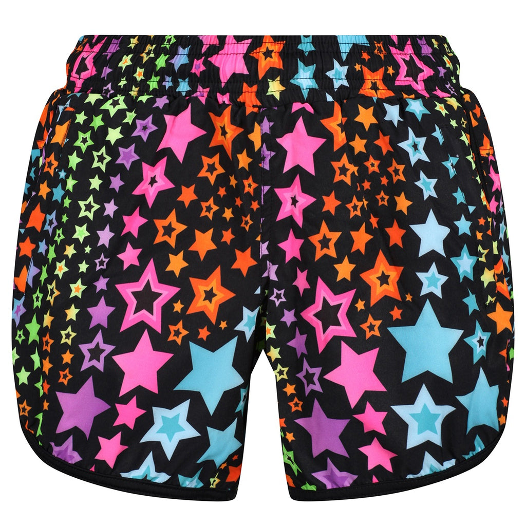 Tikiboo Neon Stars Loose Fit Workout Shorts - Front Product View