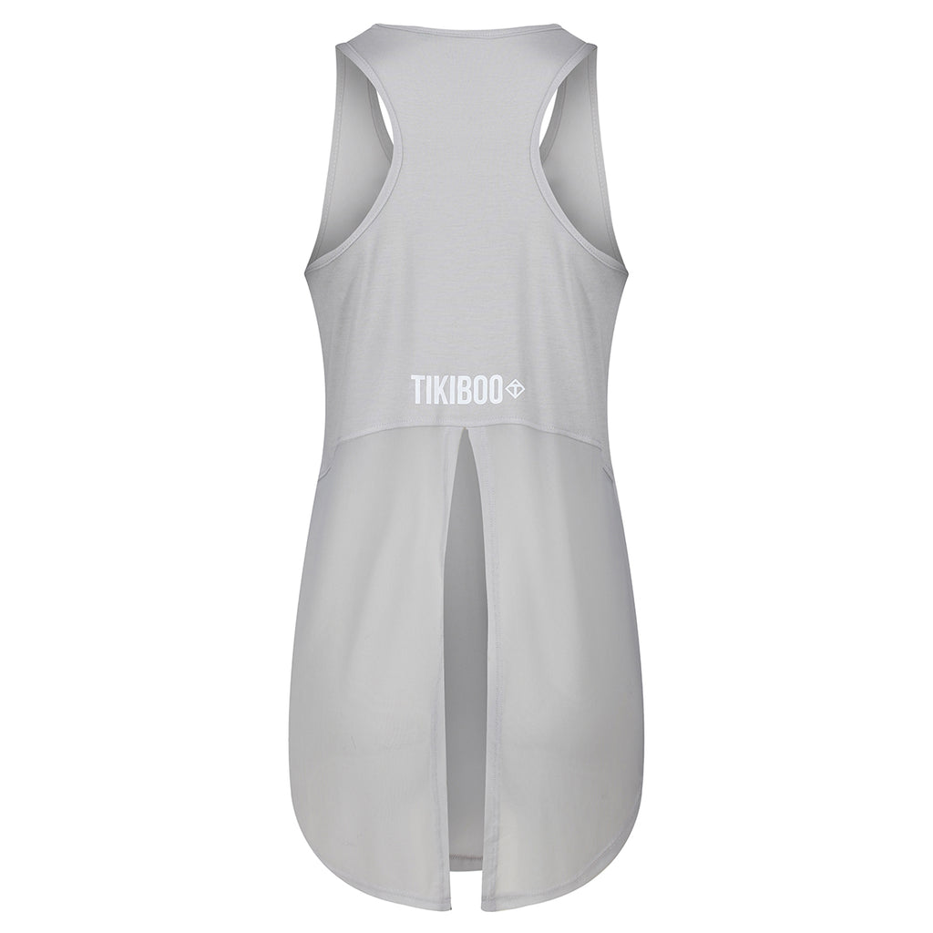 Tikibo Silver Diamond Mesh Tie Back Vest Top - Back Product View