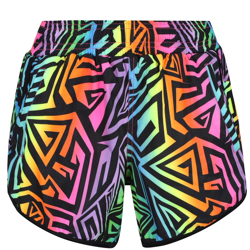 Tikiboo Mr Motivator '90s Guru Loose Fit Workout Shorts - Front Product View