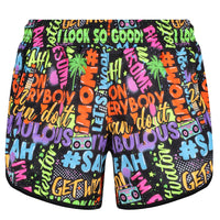 Tikiboo Mr Motivator 'Says' Loose Fit Workout Shorts - Front Product View