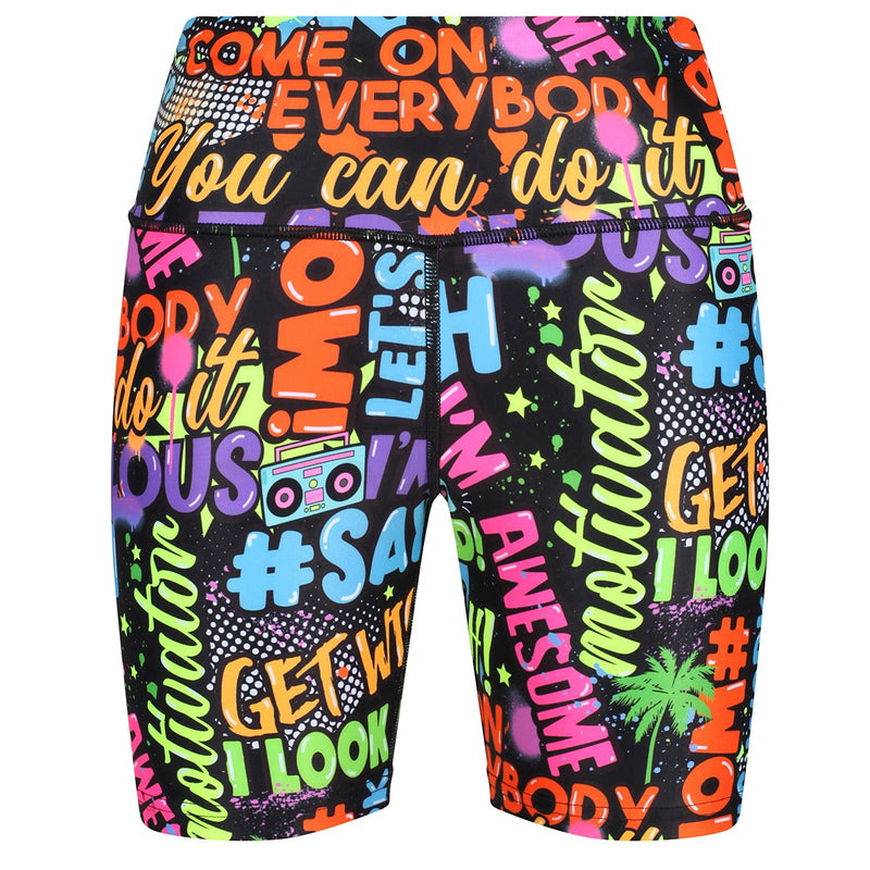 Tikiboo Mr Motivator 'Says' Running Shorts - Front Product VIew