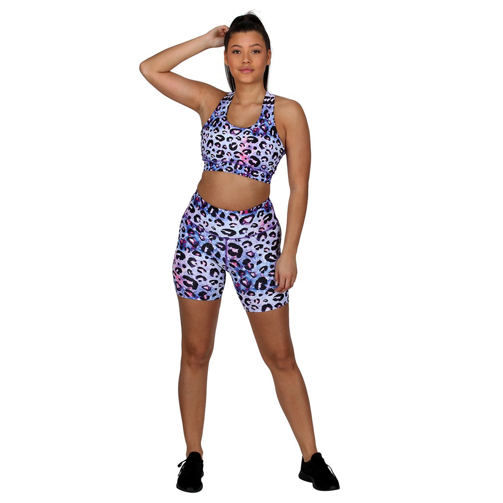 Tikiboo Bluebell Ocelot Running Short LYCRA Pants - Front Model View