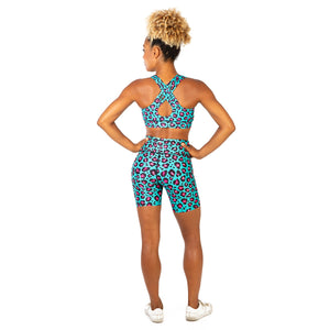 Tikiboo Minty Leopard Running Short Pants - Back Model View