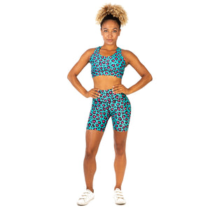 Tikiboo Minty Leopard Running Short LYCRA Pants - Front Model View