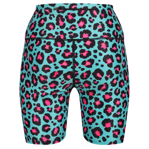 Tikiboo Minty Leopard Running Short LYCRA - Back Product View