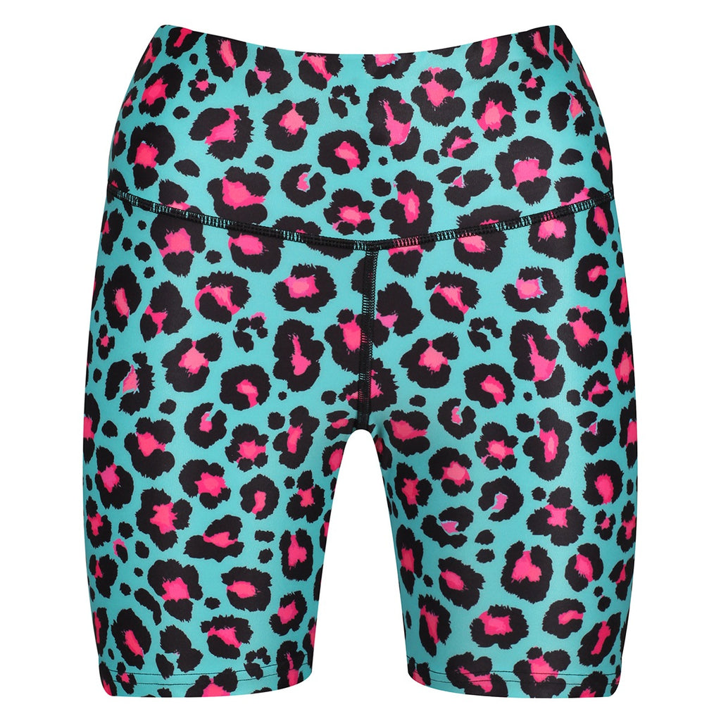 Tikiboo Minty Leopard Running Shorts - Front Product View