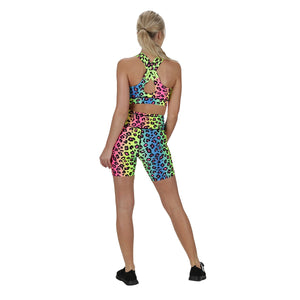 Tikiboo Neon Leopard Running Short Pants - Back Model View