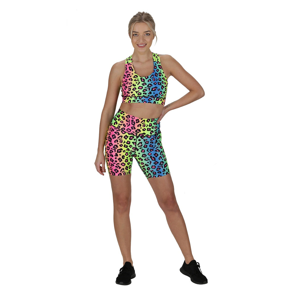Tikiboo Neon Leopard Running Short LYCRA Pants - Front Model View