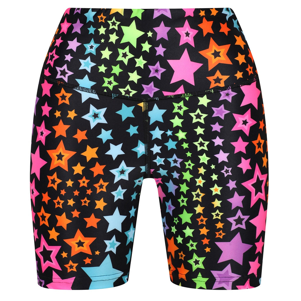 Tikiboo Neon Stars Running Shorts - Front Product View