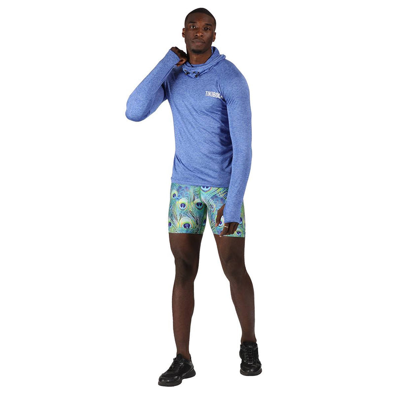 TIkiboo Peacock Feathers Running Short LYCRA Pants - Front Male Model View